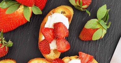 Strawberry Crostini with Whipped Vegan Ricotta