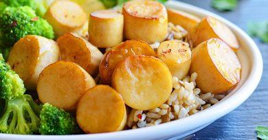 """Vegan Maple Glazed King Oyster Mushroom """"Scallops"""""""