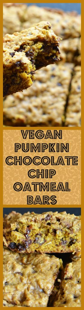 Vegan Pumpkin Chocolate Chip Oatmeal Bars