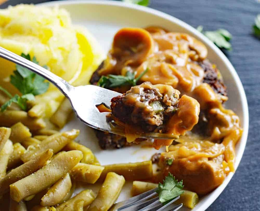 Vegan Hamburger Steaks with Onion Mushroom Gravy