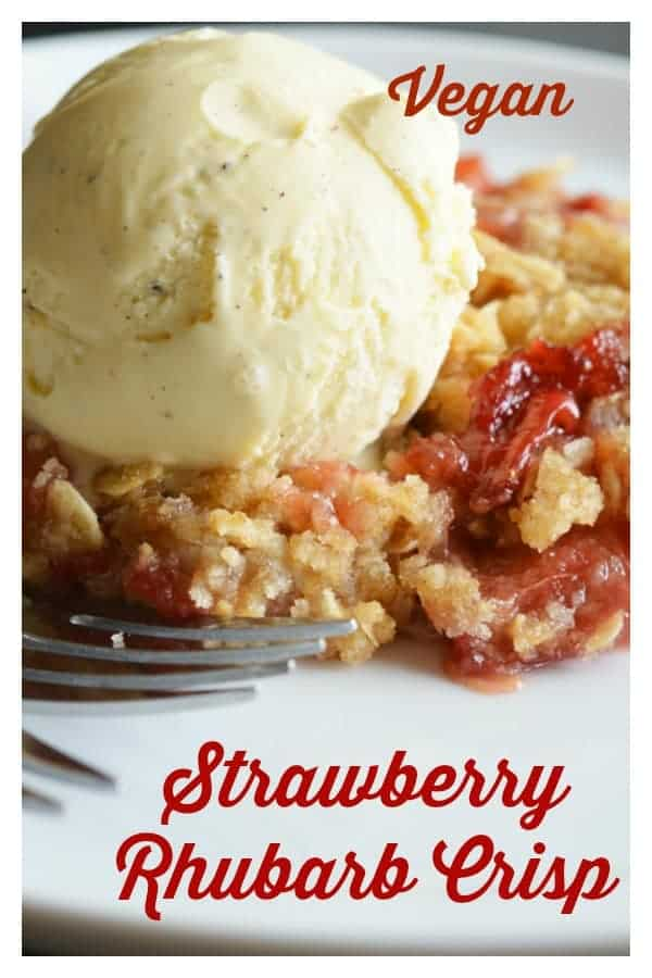 Vegan Strawberry Rhubarb Crisp Recipe PINTEREST IMAGE