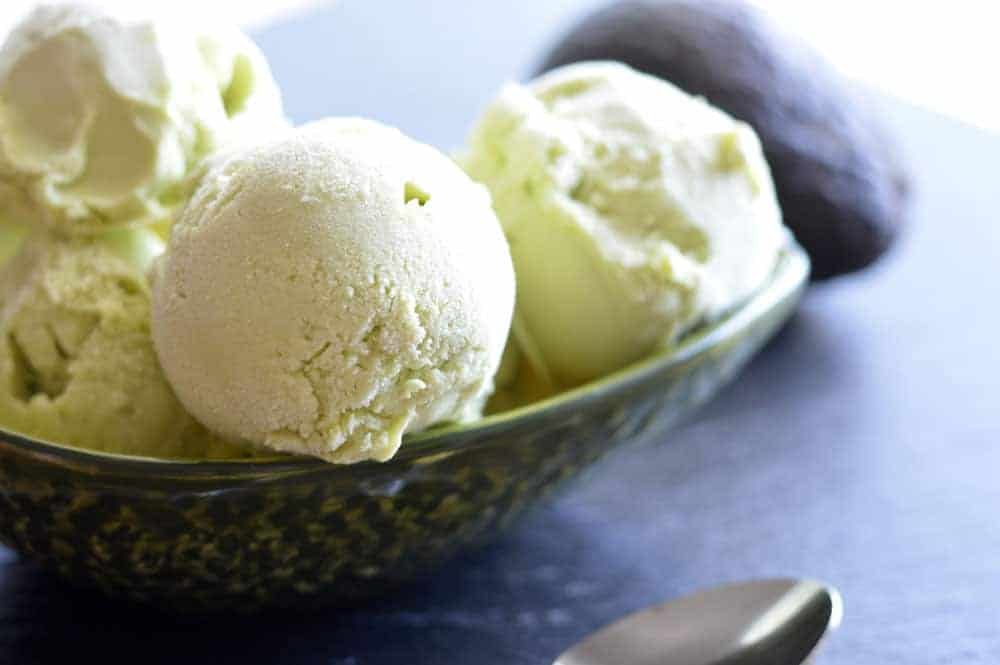 Scoops of Vegan Avocado Ice Cream Recipe