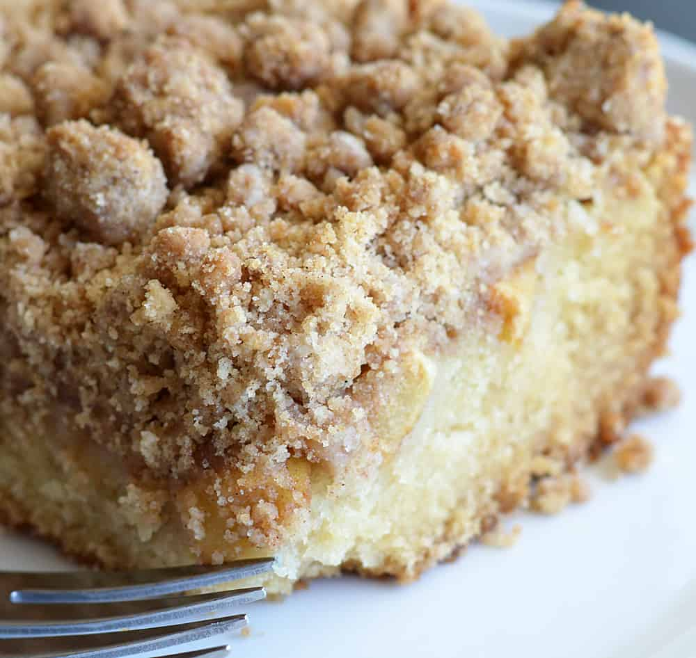 Close up of the unfrosted Apple Crumb Cake with Powdered Sugar Glaze