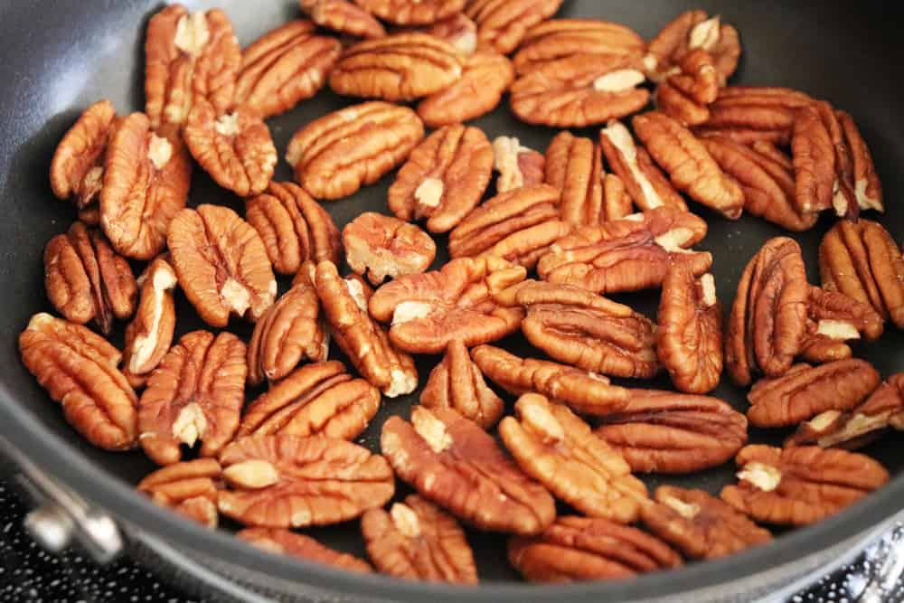 Roasting pecans in a saute pan