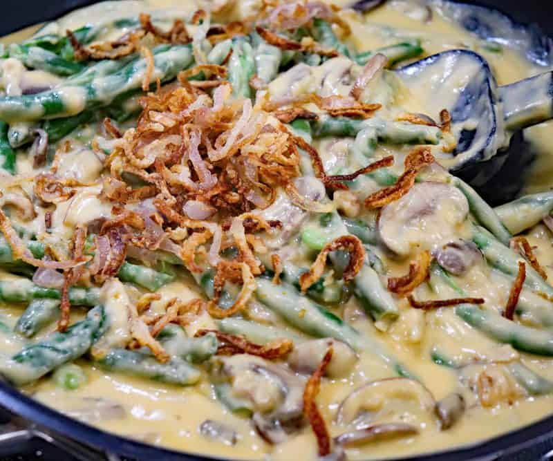 Pan full of Stovetop Green Bean Casserole