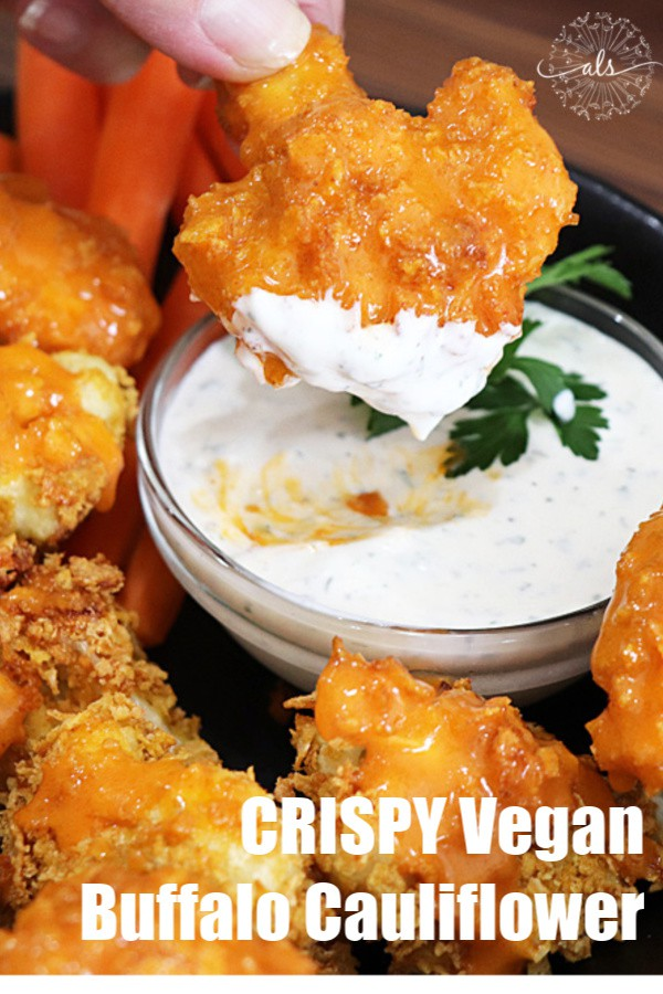 Pinterest Image for Crispy Vegan Buffalo Cauliflower with Homemade Ranch Dip