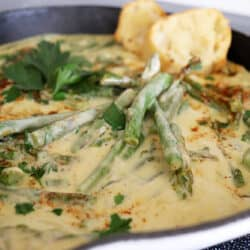 Close up of Asparagus with Cream Sauce