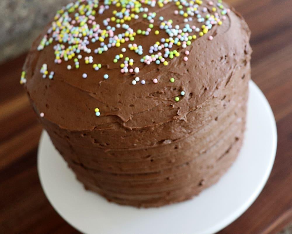 Close up of full Vegan Chocolate Mayonnaise Cake