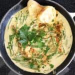Overhead of Asparagus with Cream Sauce
