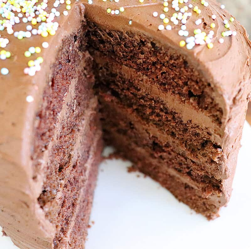 Taking a slice out of Vegan Chocolate Mayonnaise Cake