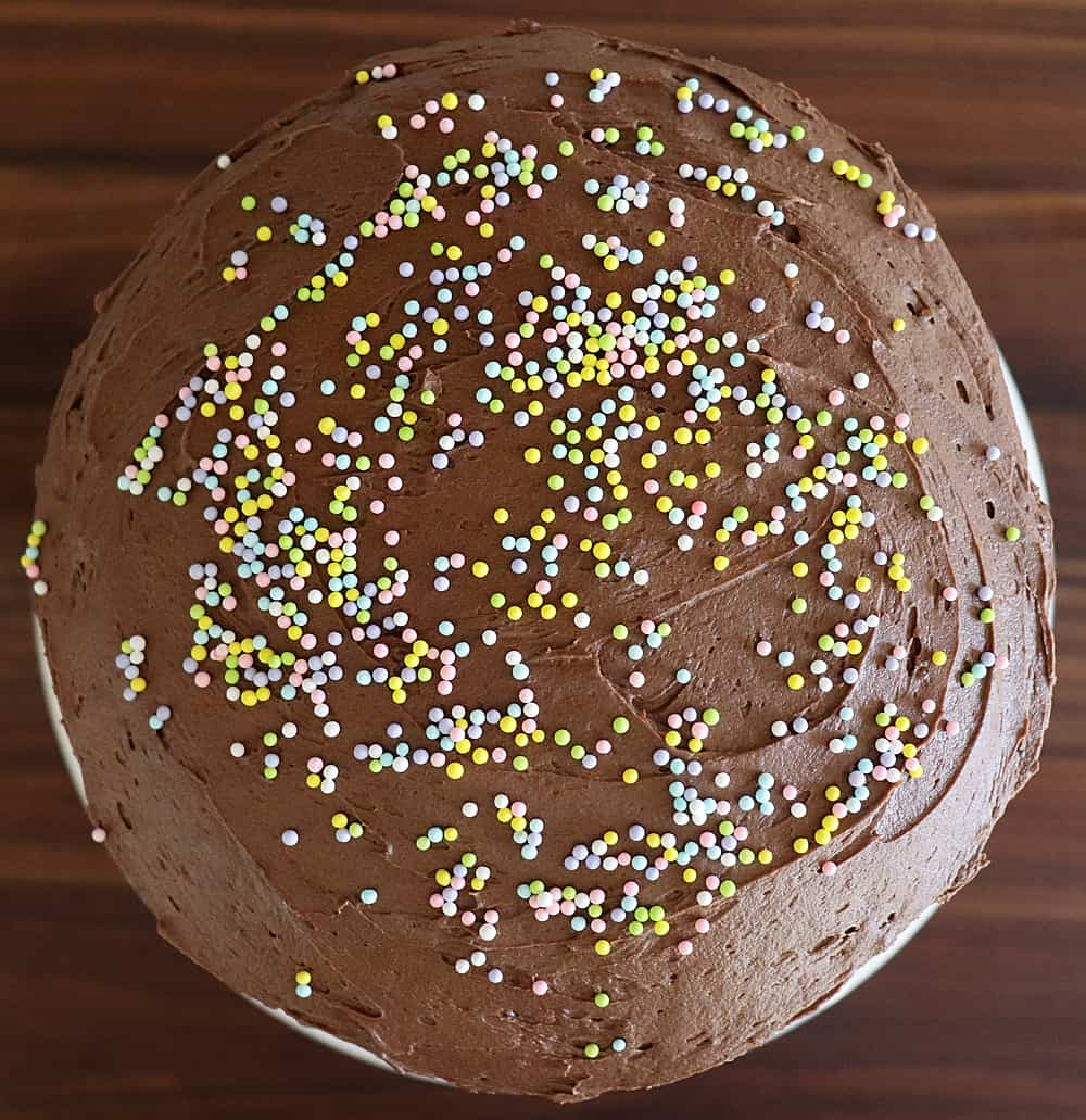 Sprinkles on top of Vegan Chocolate Mayonnaise Cake