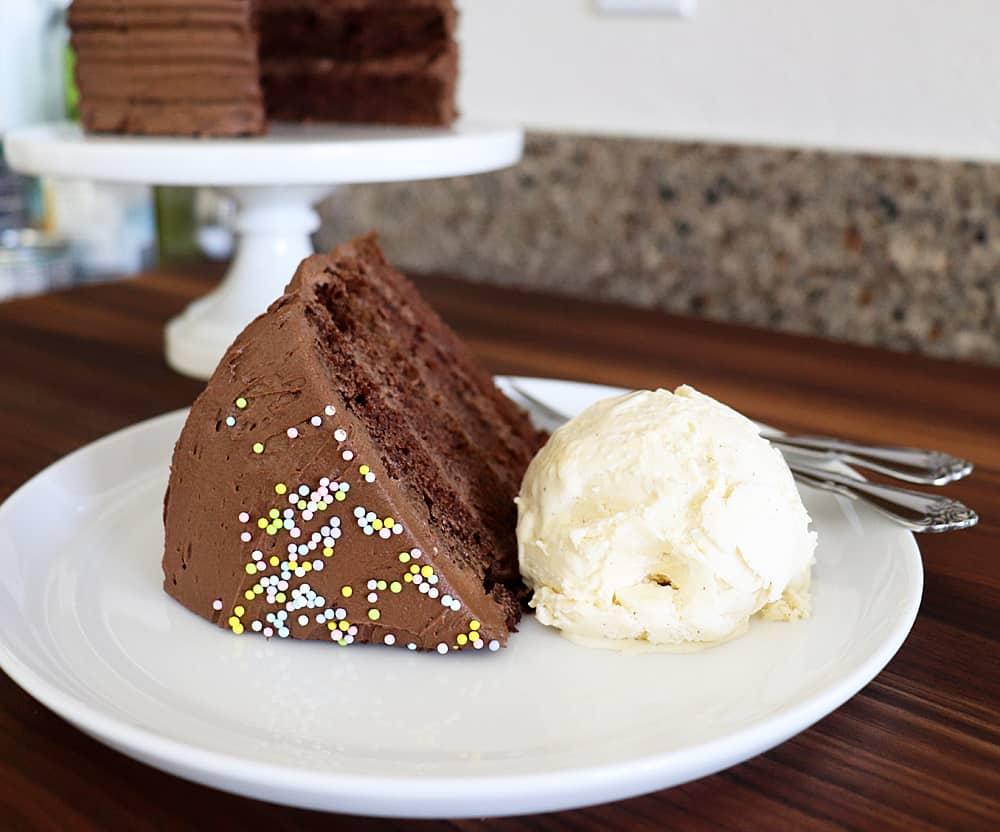 Slice of Vegan Chocolate Mayonnaise Cake