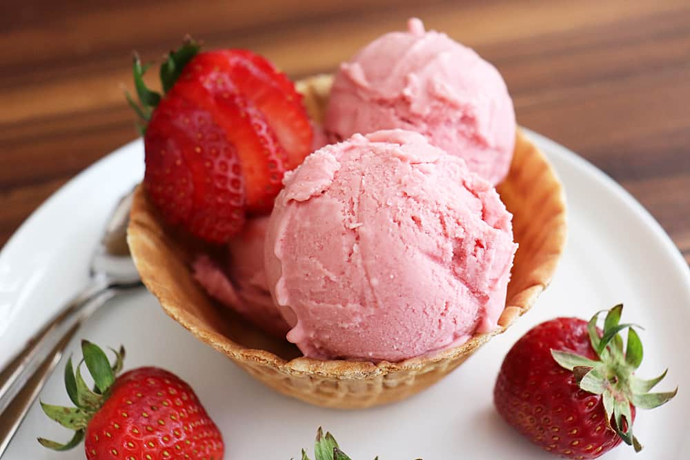 Close up of Strawberry Rhubarb Ice Cream