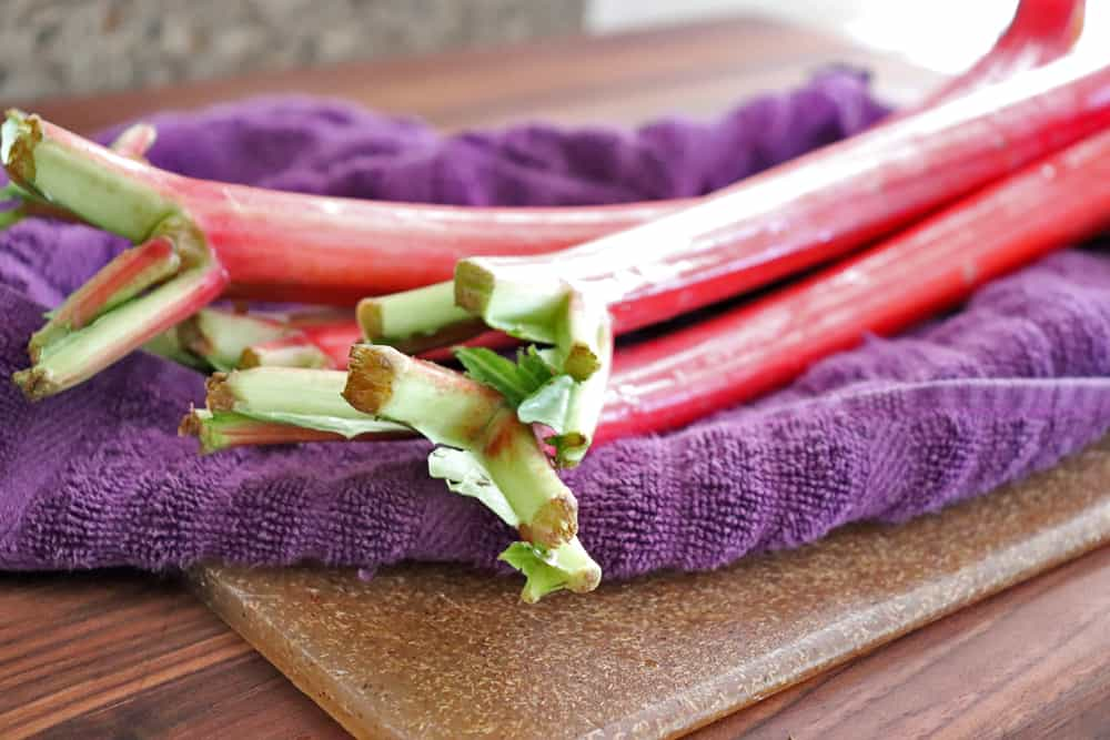Close up of rhubarb