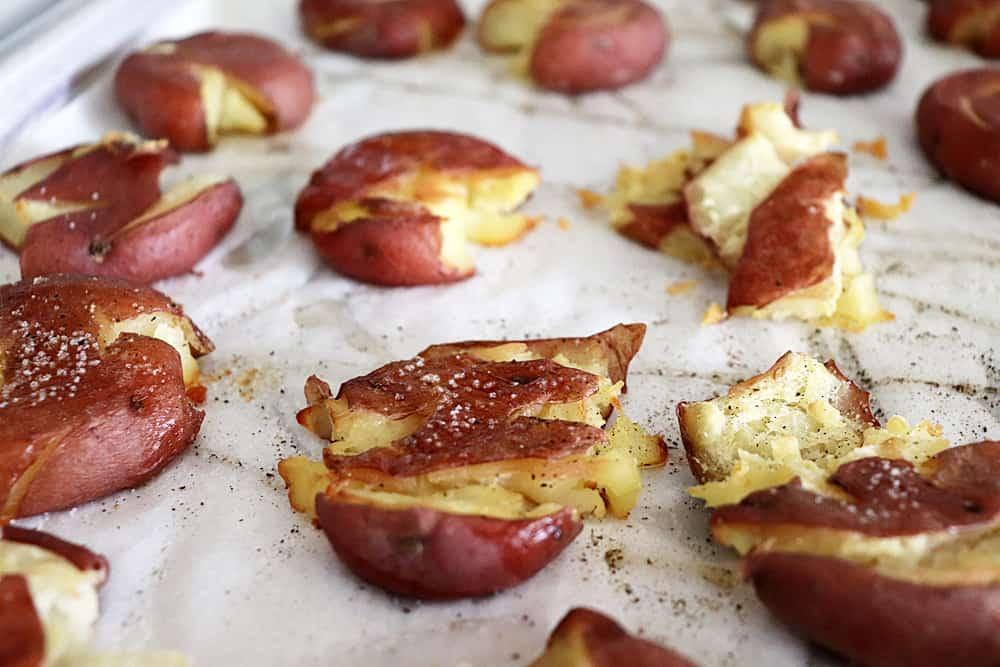 Baked Crispy Smashed Potatoes with Parsley Pesto