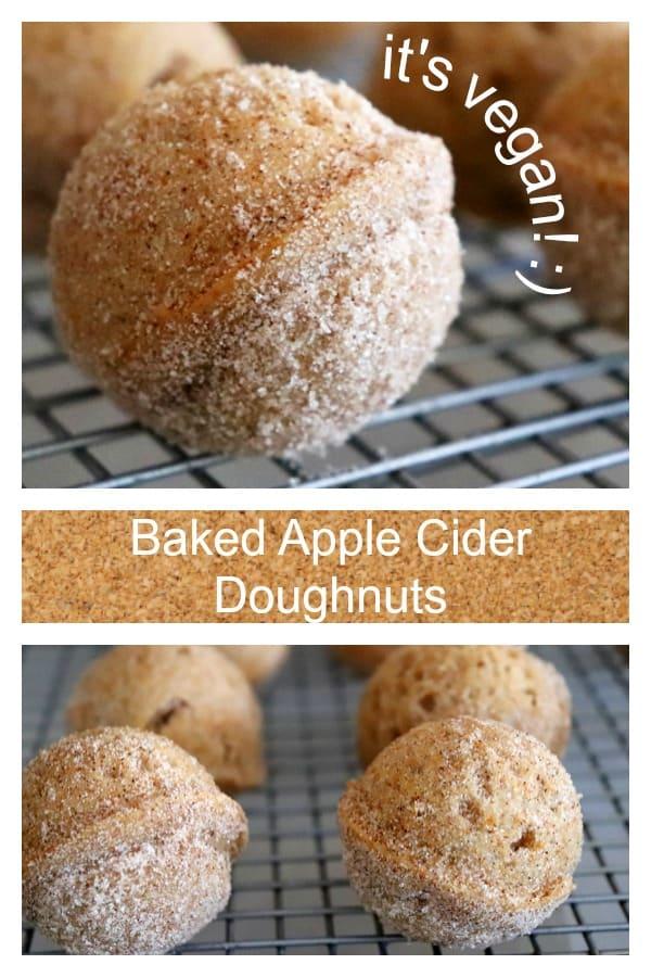 Pinterest image for Baked Apple Cider Doughnut Holes