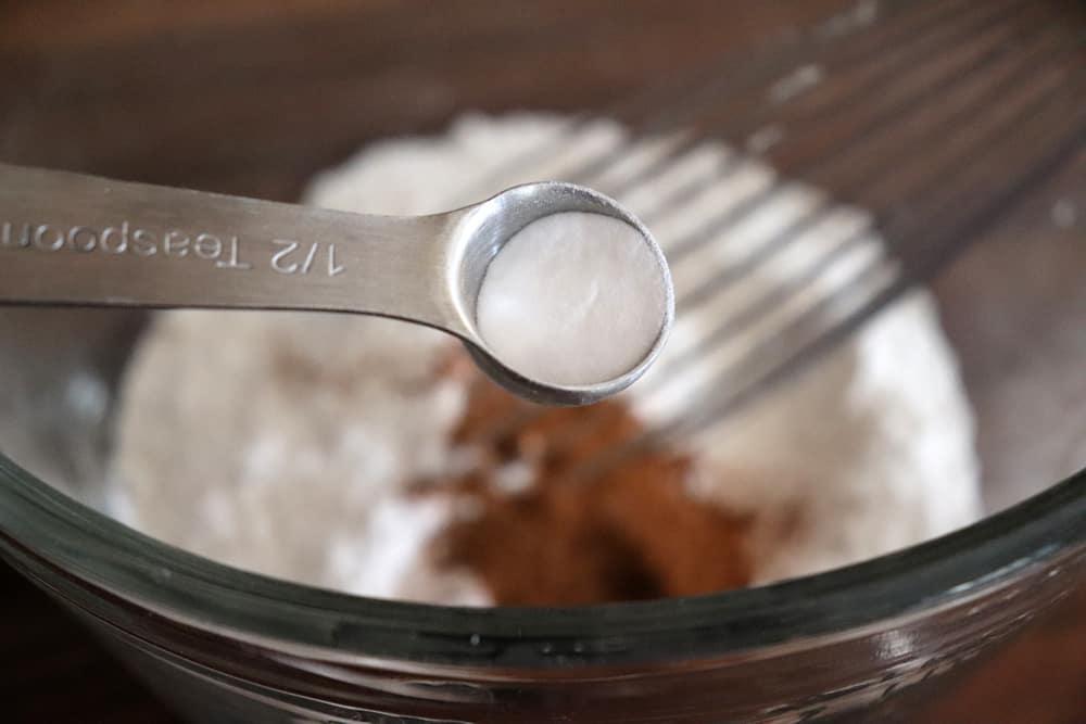 Adding baking soda to the flour mixture