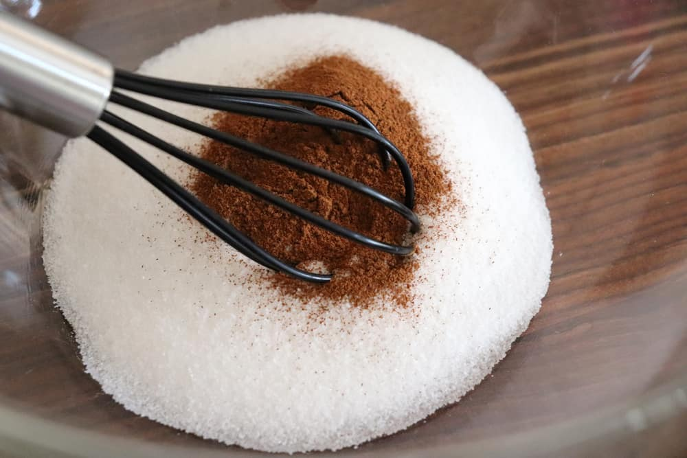 Whisking cinnamon sugar