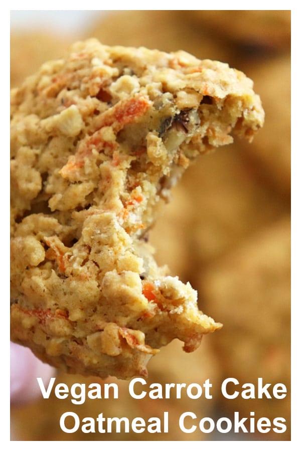 Pinterest image for Vegan Carrot Cake Oatmeal Cookies