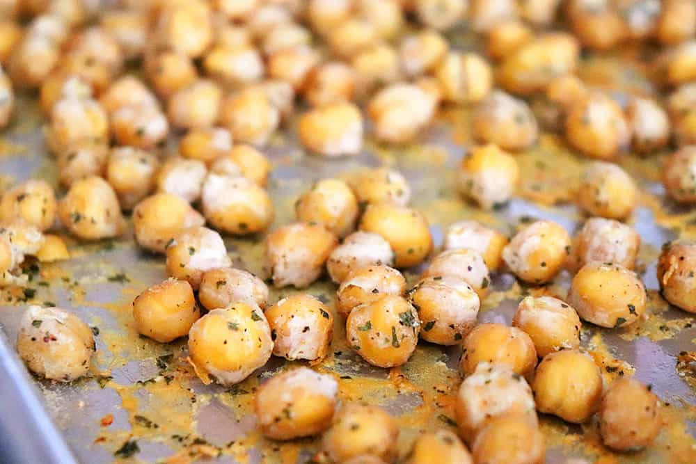 Crunchy Roasted Ranch Chickpeas Sheet pan shot