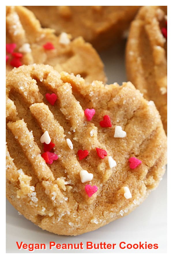 Pinterest image for Vegan Peanut Butter Cookies