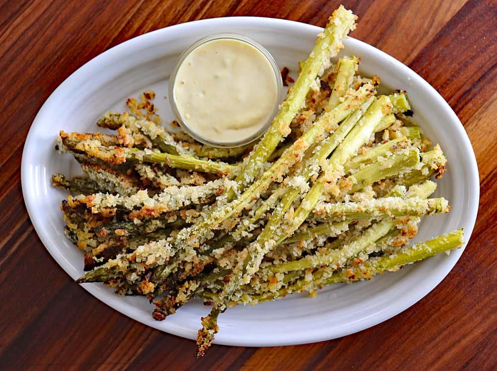 Overhead Panko Roasted Asparagus