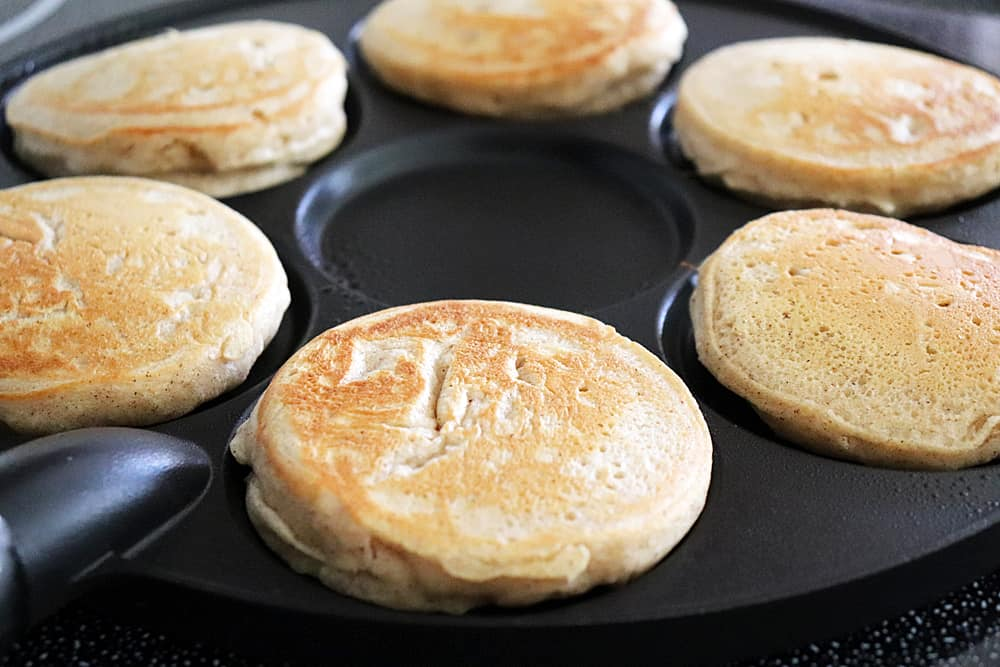 Cooked Light and Fluffy Vegan Banana Pancakes