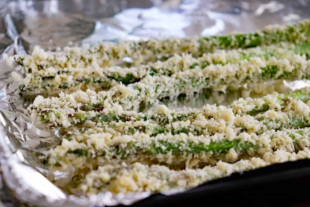 Panko crusted asparagus ready to bake