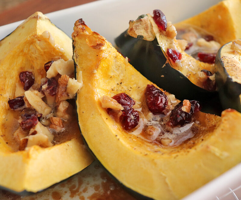 Roasted Acorn Squash with Walnuts and Cranberries HERO