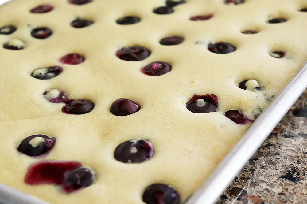 Baked Vegan Lemon Blueberry Sheet Pan Pancakes