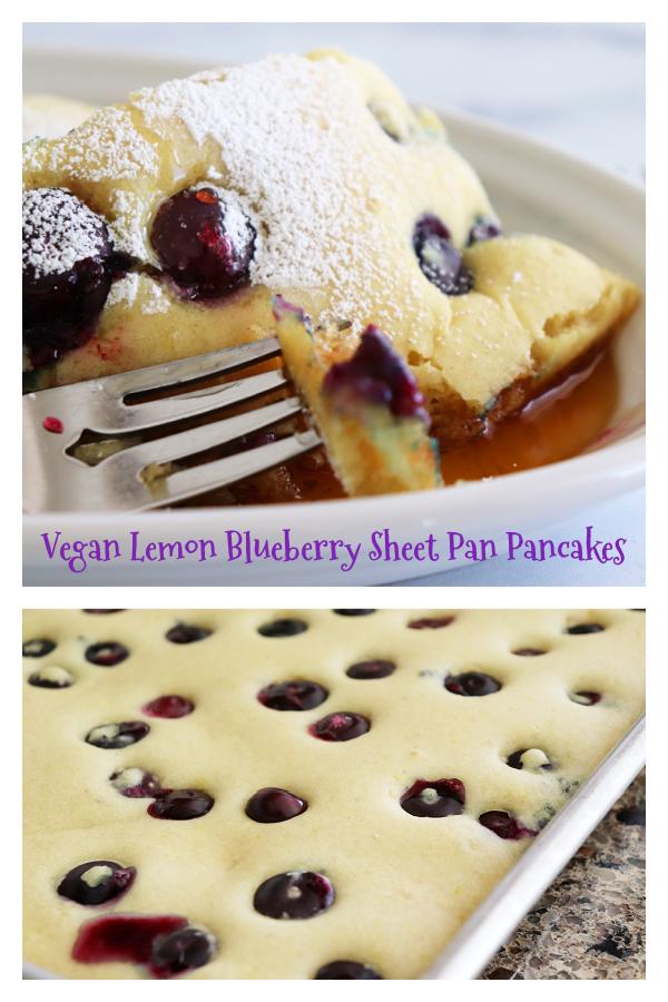 PIN for Vegan Lemon Blueberry Sheet Pan Pancakes