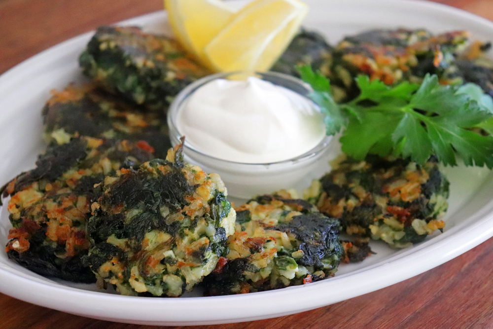 Full plate of Vegan Spinach and Brown Rice Cakes
