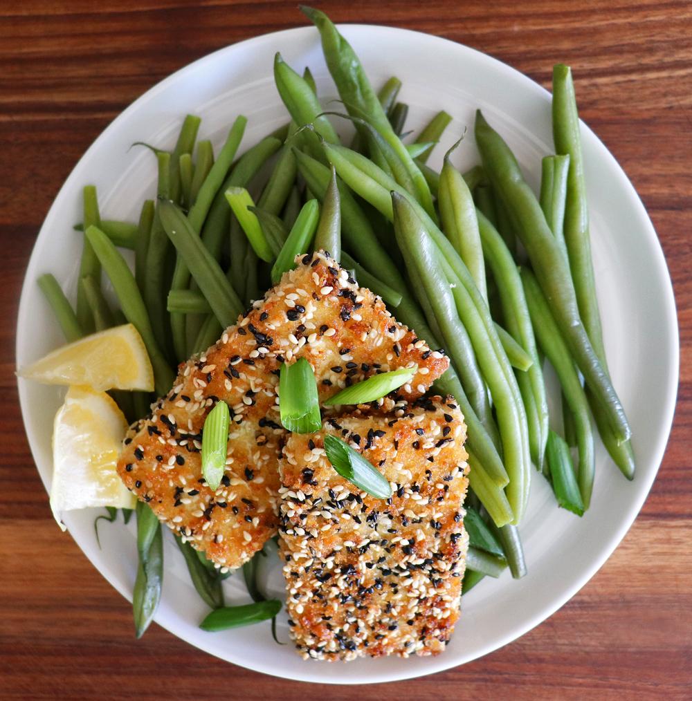 OVERHEAD Pan Seared Sesame Crusted Tofu Steaks