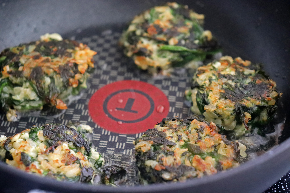 Pan fried Vegan Spinach and Brown Rice Cakes
