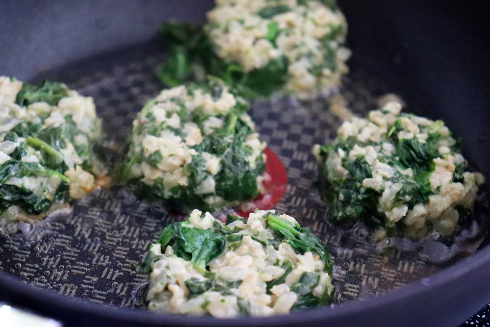 Pan frying the Vegan Spinach and Brown Rice Cakes