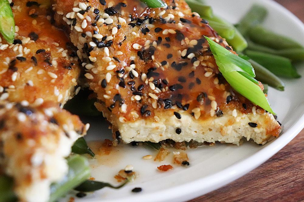 Sliced Pan Seared Sesame Crusted Tofu Steaks
