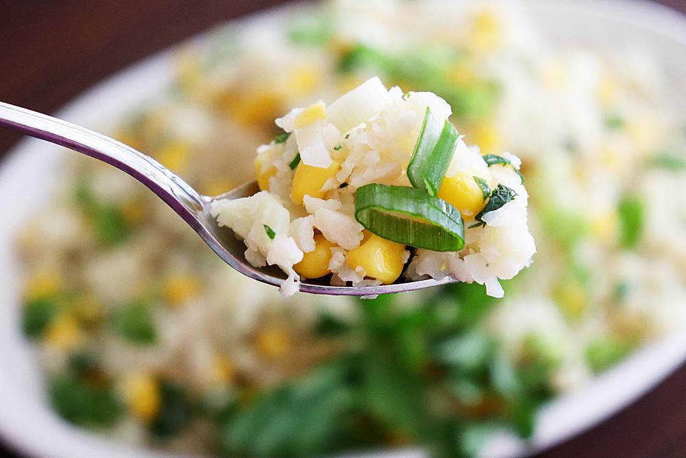 Bite shot of Vegan Corn Fried Cauliflower Rice