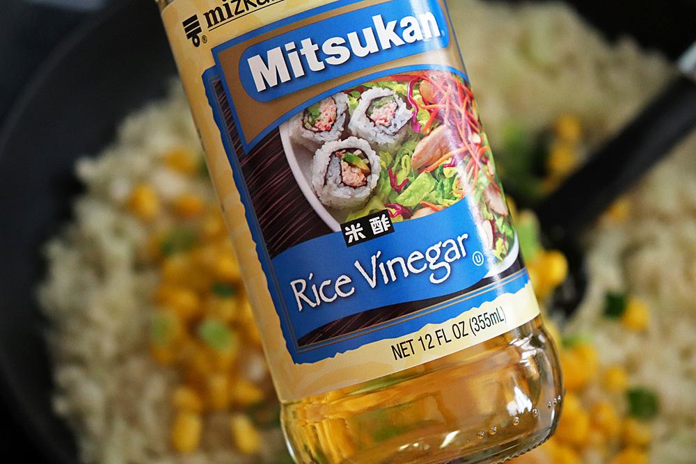 Adding rice vinegar