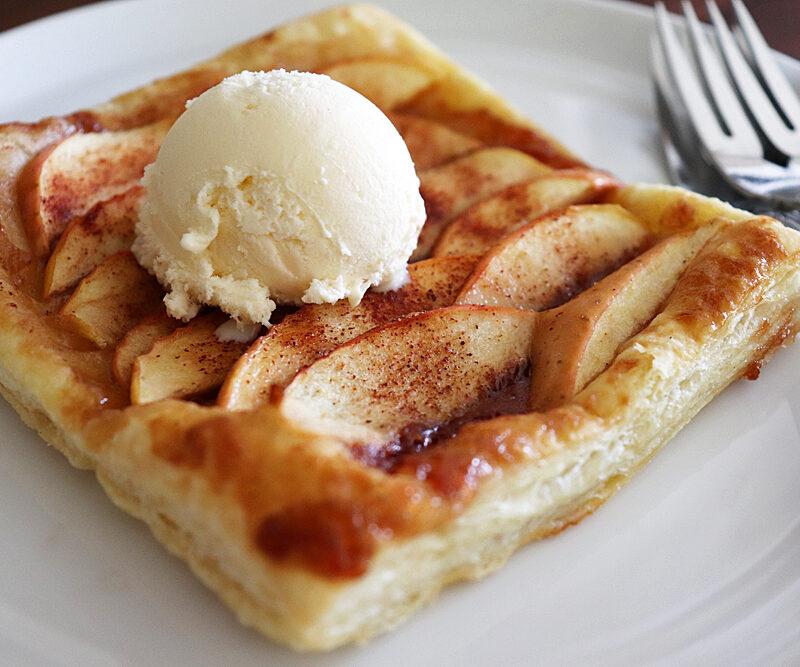 Vegan Puff Pastry Cinnamon Apple Tart Close Up
